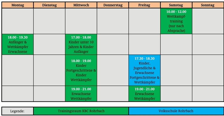 Trainingszeiten1